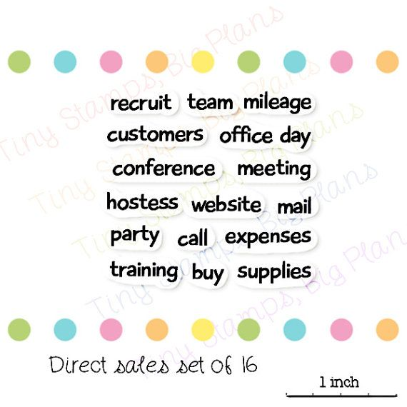 Direct sales stamps for use in planners. Stamps include party, recruit, hostess as well as some general business words such as meeting and conference.  The stamps are clear photo-polymer and cling without adhesive to an acrylic block (available separately). The stamp sizes range from approximately 1/4 inch (6mm) to 1 inch (25mm). This is a set of 16 stamps.  Stamps were designed in Australia by myself and manufactured in the USA.  Choking hazard: small parts. Keep out of reach of children…