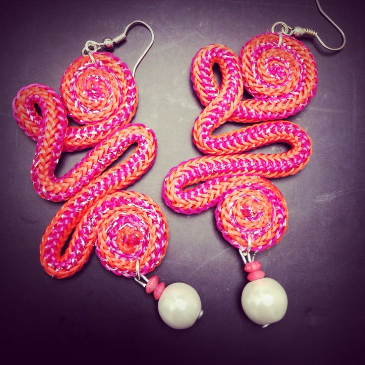 Cord earrings, orecchini in corda, corallo