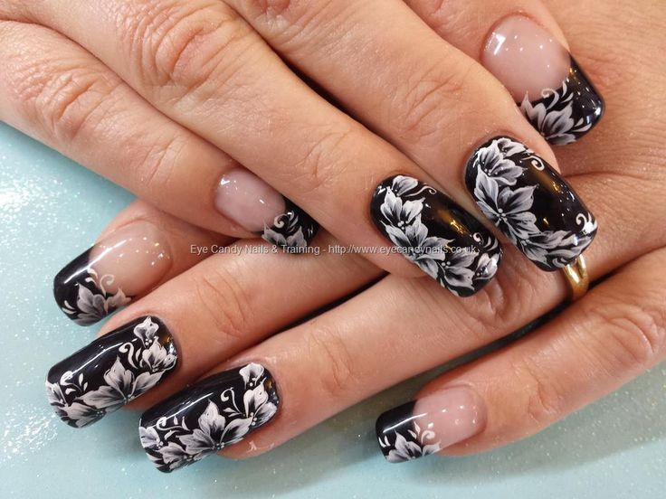 Black with one stroke flower nail art