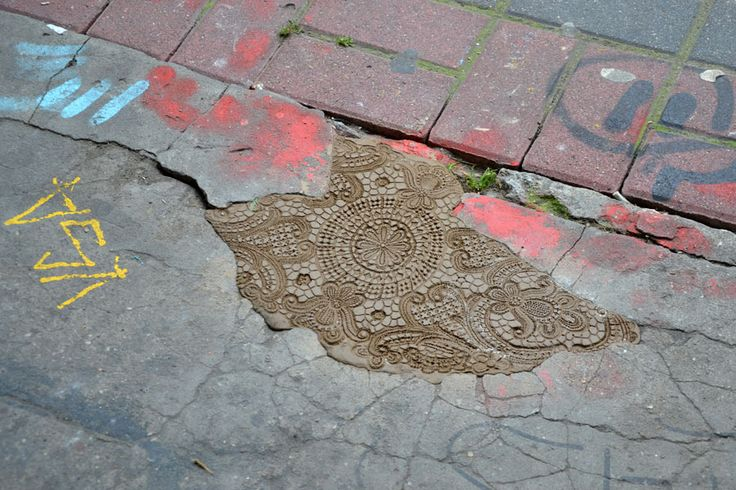 Urban Jewelry: Lace Street Art by NeSpoon street art lace ceramics