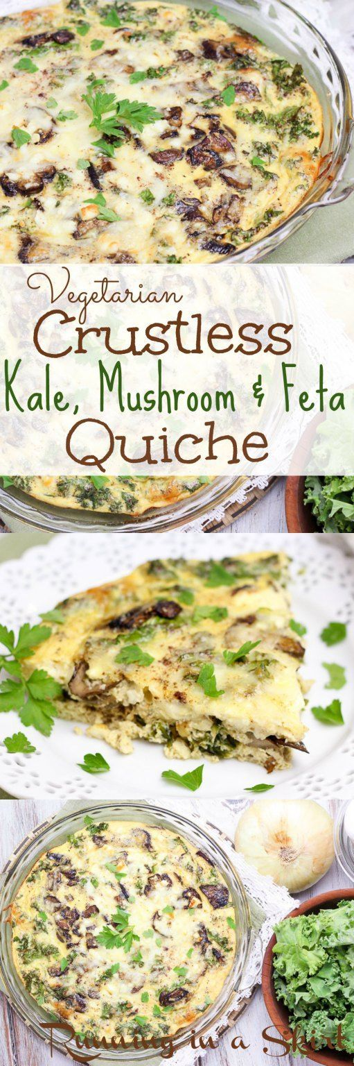 Vegetarian Crustless Kale Quiche recipes featuring kale, mushrooms and feta!  Cub sub spinach.  Healthy, fast, easy, vegetarian, paleo. clean eating meal!   Running in a Skirt