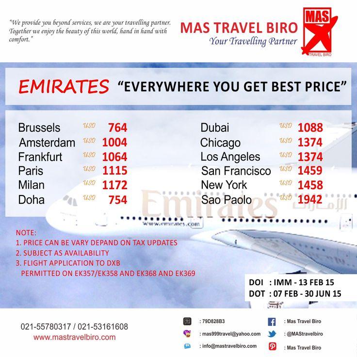Promo Emirates datang lagi, hanya sampai 24 Maret 2015. Booking segera. Info : 021-55780317 / 021-53161608