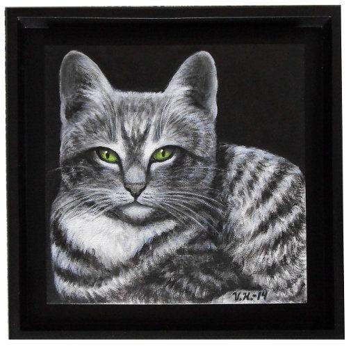 """""""Raidallinen kissa"""". Akryylimaalaus kankaalle."""