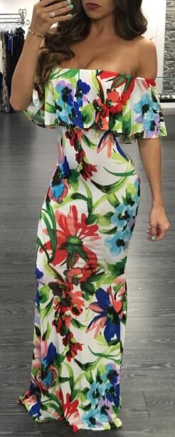 Off The Shoulder Floral Flouncy Maxi Dress