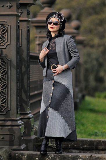 Grey fashion, look two, cardigan, patch skirt, Centennial Park Sydney. Select fashion shots of Sydney fashion blogger vivalaViv from 2013 to 2016 by fashion photographer Kent Johnson