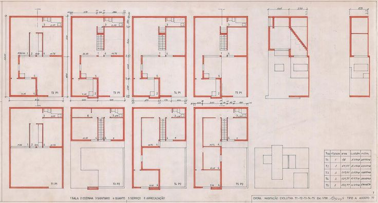 Type A house plan variations with ground floor plans ranged along the upper band and corresponding first floor plans below