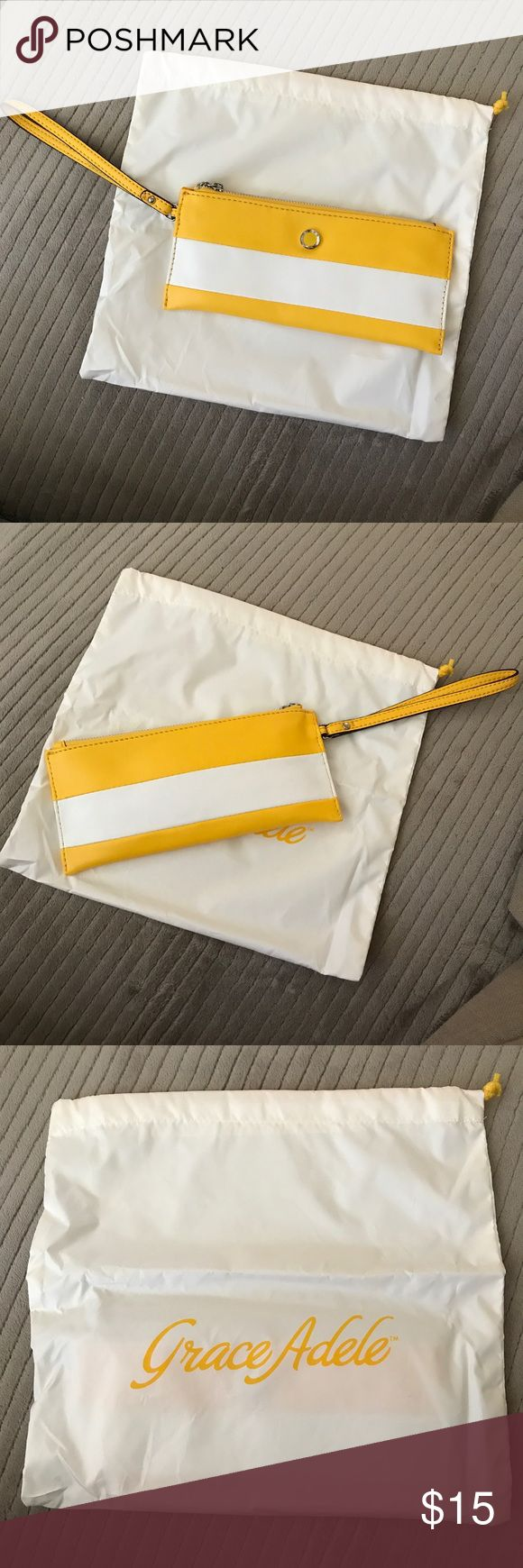 Grace Adele Yellow Wristlet BRAND NEW! Never been out of package Grace Adele Wristlet Grace Adele Bags Clutches & Wristlets