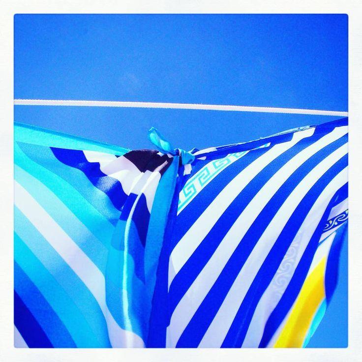 """Aegean & Ionian stripes"" silk pocket squares by Grecian chic!"