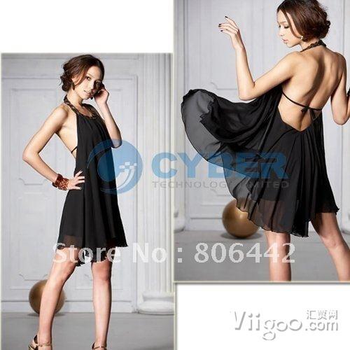 Wholesale New Fashion Sexy Backless Halter Chiffon Dress,Collarband Inlaid Jewel Ladies' Dress Black on www.viigoo.com