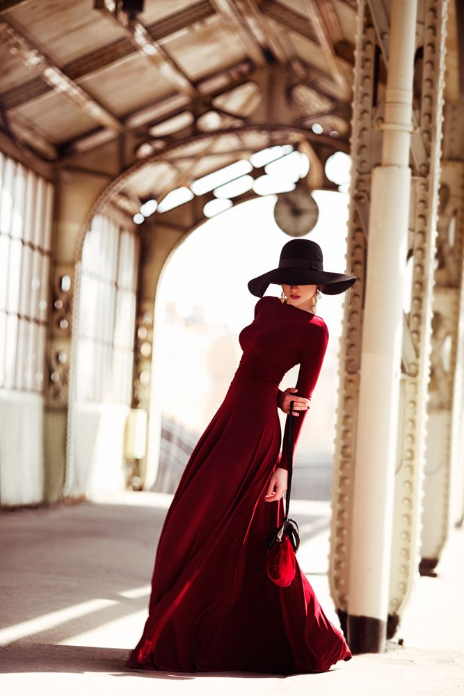 I love the drama of red and that hat!! perfection.*