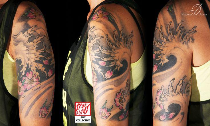 #sakura #ciliegio #wave #irezumipescara #tattoo #tatuaggi