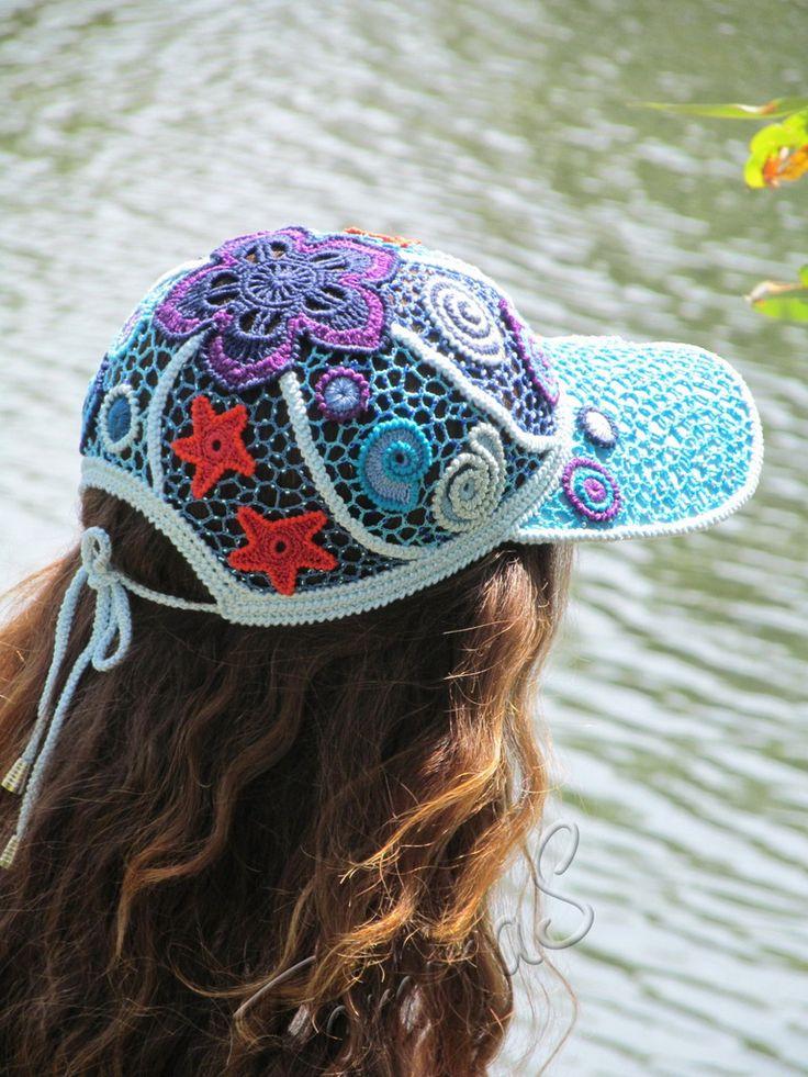 """Crochet baseball cap """"SEA"""" (lace cap, summer crochet cap, women's baseball cap, crochet cap, irish lace hat)"""