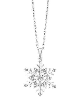 Diamond Necklace, Sterling Silver Diamond Snowflake Pendant (1/10 ct. t.w.) - FINE JEWELRY - Jewelry & Watches - Macy's