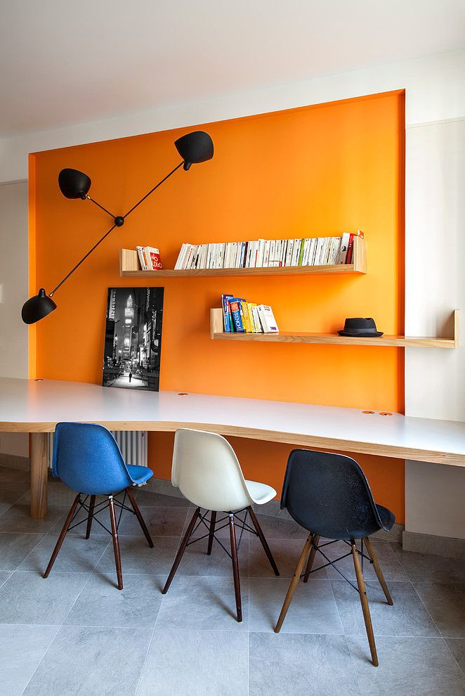 Apartment in Luxembourg by Fabrice Ausset | Fiberglass Shell Chairs on Dowel bases