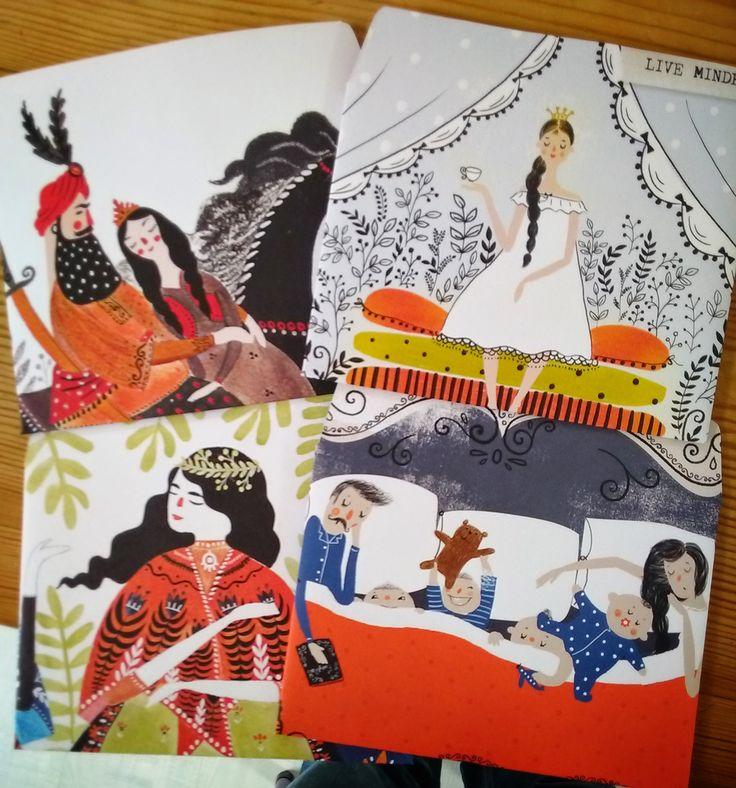 Zelfgemaakte enveloppen met plaatjes uit Flow magazine