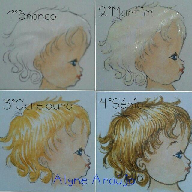 Pintura em tecido | passo a passo | Cabelinho | cabelo de anjinho