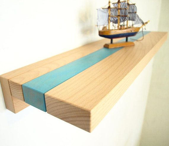 Wood Shelf - light blue stripe floating wall shelf