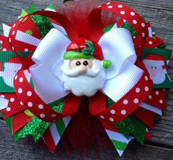Boutique de Navidad de SANTA CLAUS en capas por PolkaDotzBowtique
