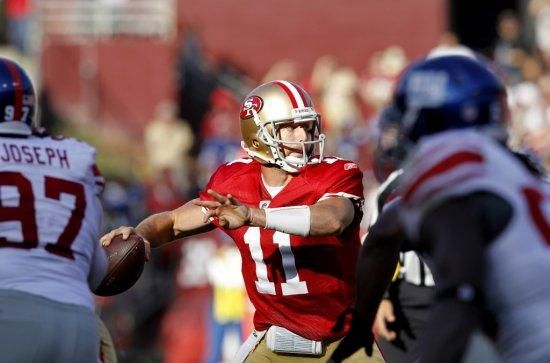 From 2011: Alex Smith throws a completion in the second half.