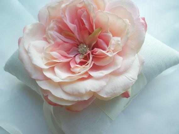 Ring Bearer PIllow  Smoked Pink Rose Flower Wedding by KZBRIDAL