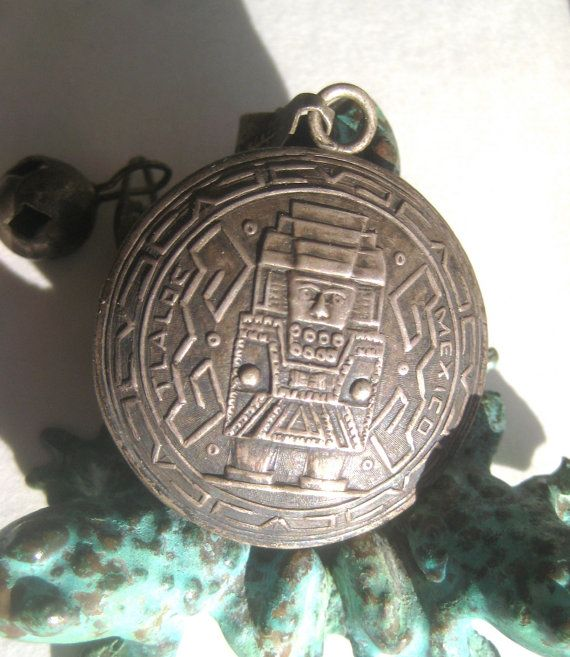 silver 70 inch chain with #Sterling #Silver #Aztec or #Mayan #Robot #Alien #God #pendant #handmade #beads  #midcentury #BetterWythAge