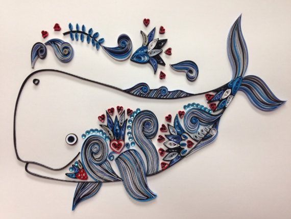 Quilling Whale Quilled Art Nautical 11x14 Framed by jgaCreations