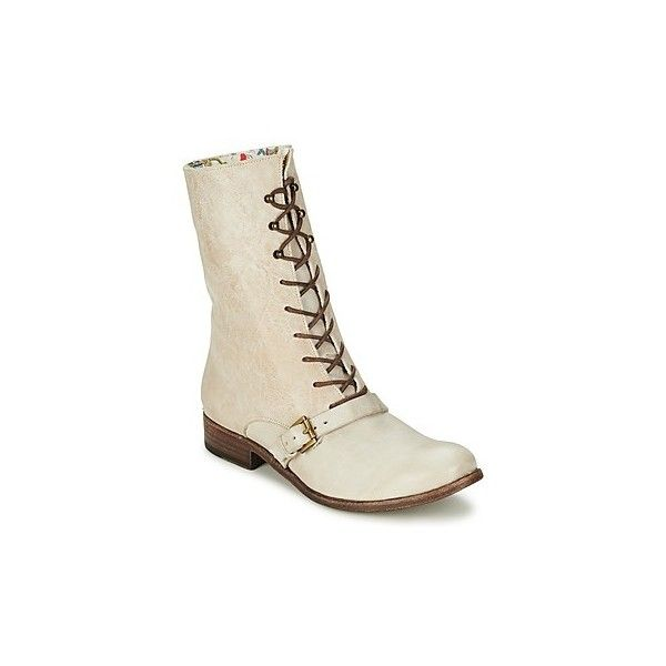 Stephane Gontard ROMANOLO Mid Boots ($230) ❤ liked on Polyvore featuring shoes, boots, white, white boots and white shoes