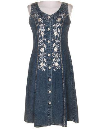 80's Blue Denim Sleeveless Dress - M