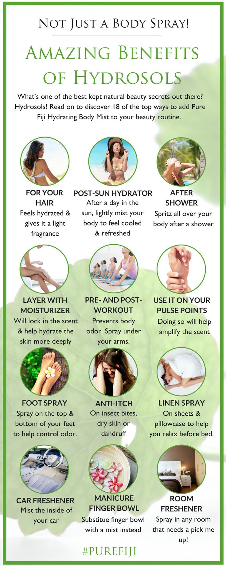 One of the best kept natural beauty secrets out there. Read on to discover 18 of the top ways to add hydrosols to your beauty routine from #PureFiji blog. Infographic - Hydrosols #NaturalBeauty#NaturalSkinCare#BodyCareProducts#OrganicOils
