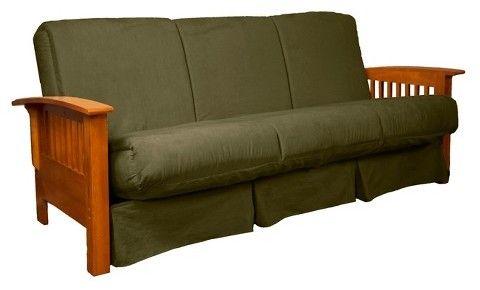 Sit Craftsman Perfect Futon Sofa Sleeper - Medium Oak Wood Finish - Olive Green Upholstery - Queen - Sit N Sleep