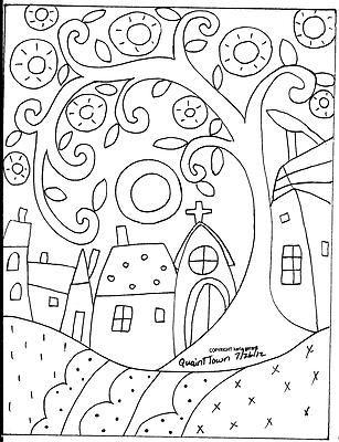 Rug Hooking Paper Pattern Quaint Town Folk Art Modern Primitive Unique Karla G | eBay