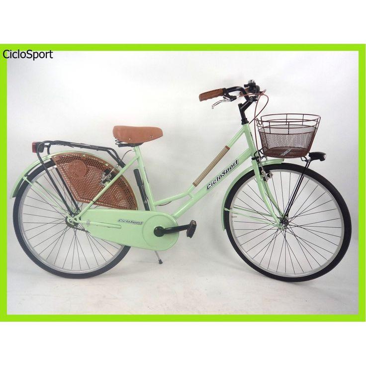 """Bicicletta donna Olanda Plus 26"""" CicloSport completa di accessori - Verde Acqua"""