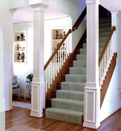 open staircase load bearing post - Google Search