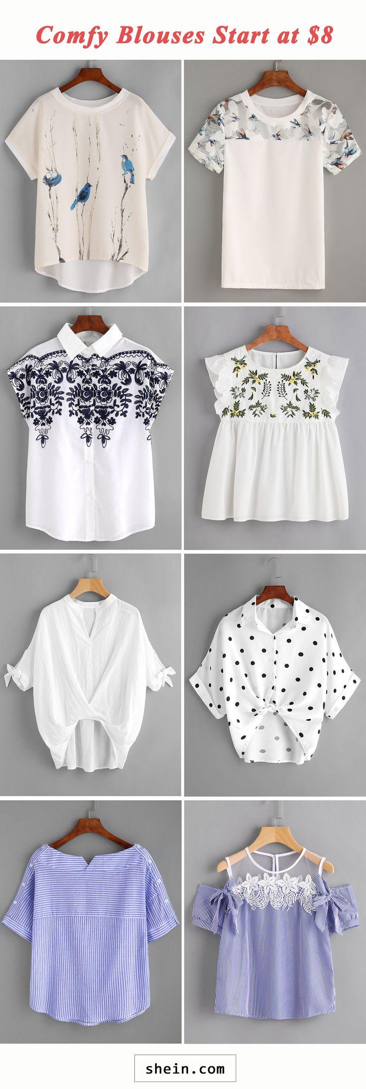 Comfy blouses start at $8!