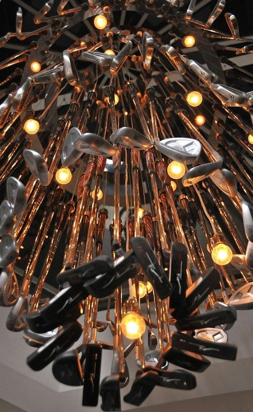 Golf Clubs - A golf club chandelier at the Belfry Hotel Our Residential Golf Lessons are for beginners, Intermediate & advanced. Our PGA professionals teach all our courses in an incredibly easy way to learn and offer lasting results at Golf School GB www.residentialgo...