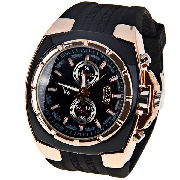 Main Features: The two circles and calendar on the dial to decorating the watch. Specification: General Brand: V6Watches categories: Male tableWatch style: FashionAvailable color: Champagne Dial Movement type: Quartz watchShape of the dial: RoundDisplay type: AnalogCase material: MetalCase color: Black Band Band material: RubberClasp type: Pin buckleBand color: Black Function Special features: Decorating small two stitches,Decorating date Weight and Size The dial thickness: 0.9 cmThe dial…