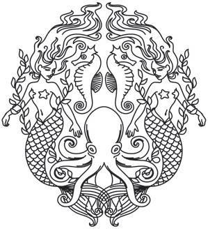 mermaid octopus urbanthread stencil Creatures of the Sea_image
