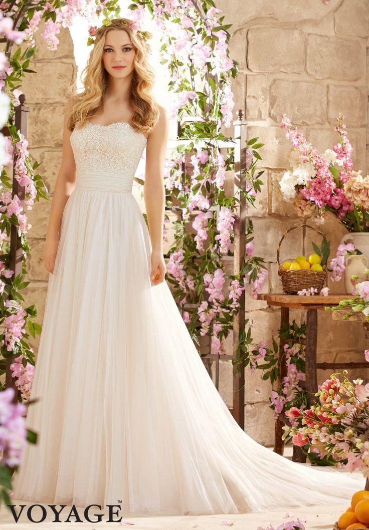Wedding Dress Alencon Lace on Soft Net