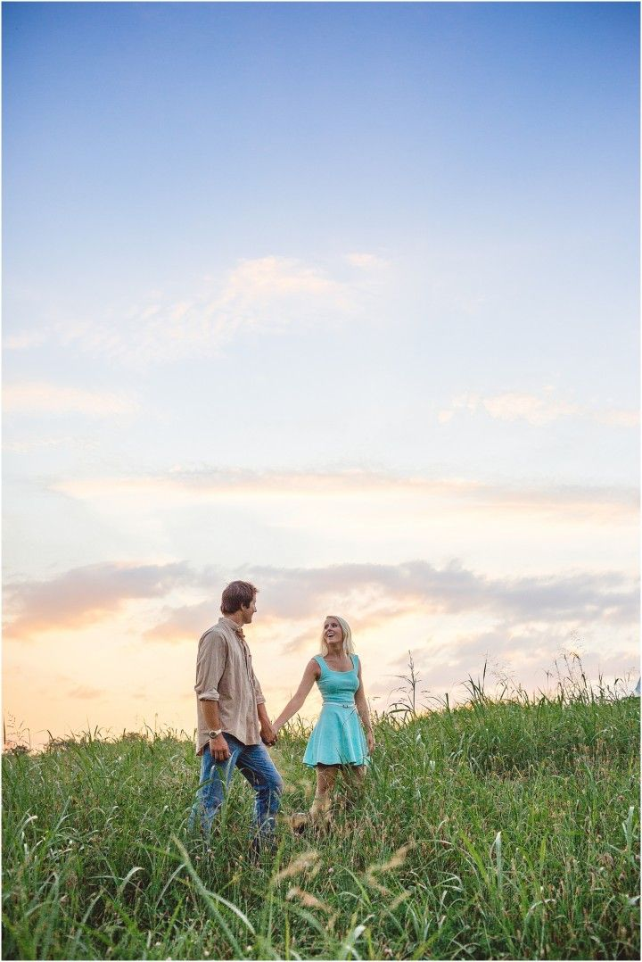 Farm engagement photos in the field at sunset.
