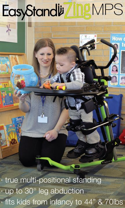the easystand zing mps is the only pediatric standing frame that allows a child to seamlessly