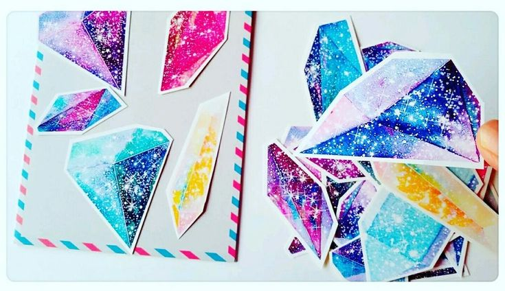 Galaxy Space Stickers,Crystal Stickers,Cute Scrapbook Decoupage Journal Card
