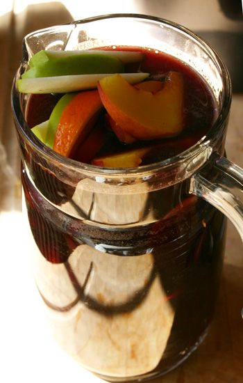 Sangria  1 750 ml bottle red wine  ¾ cup Grand Marnier  1 cup freshly-squeezed orange juice  1 oz 2:1 simple syrup, or 1½ oz 1:1 simple syrup  1 tsp Angostura bitters    Mix ingredients together in a large pitcher. Add pieces of fresh seasonal fruit and serve in goblets over ice. Makes 8 five-ounce servings.Fruit, Fun Recipe, Red Wine, Cups, White Wine, Sangria Recipe, Bottle, Cocktails Recipe, Drinks Recipe