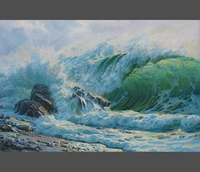 Seascape painting by Alexander Shenderov ocean coastal art original oil painting on canvas sea beach painting waves paintings large painting
