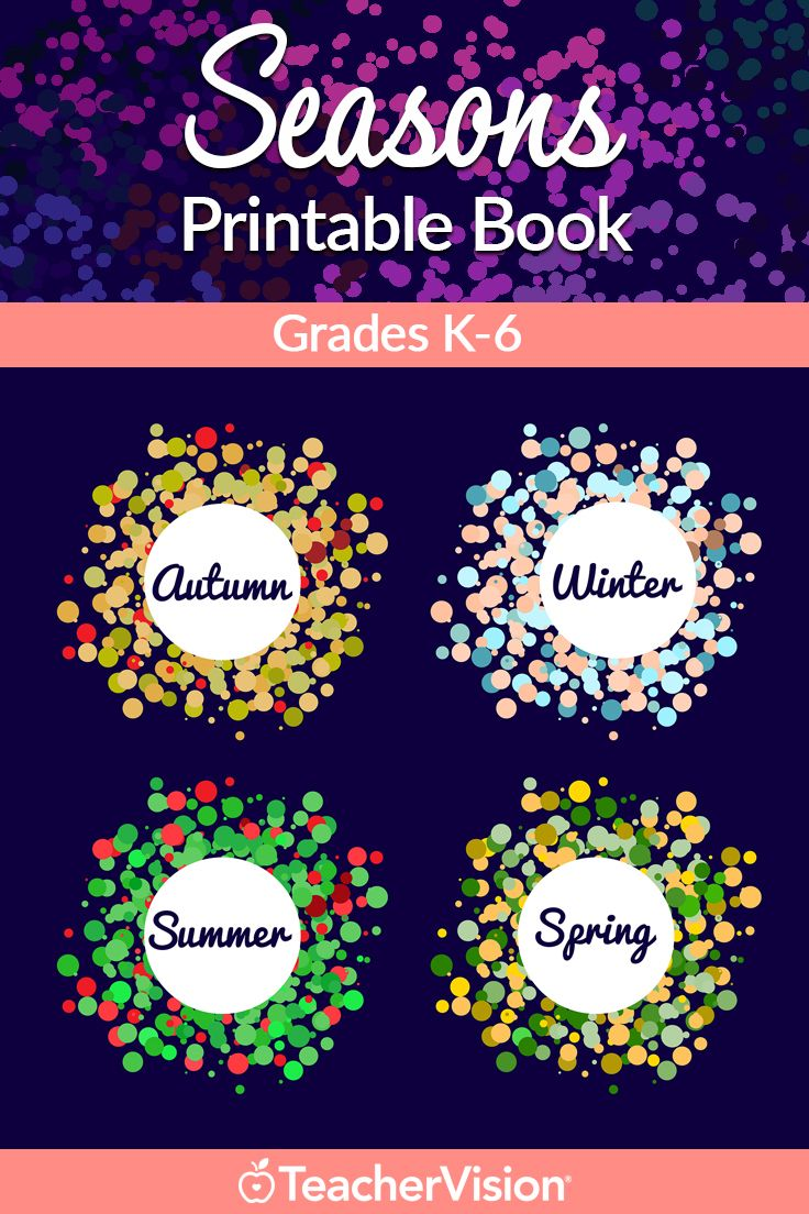 Seasons Printable Book (K-6): Celebrate the seasons with lesson plans and activities for autumn, winter, summer, and spring. This printable book for grades K–6 includes seasonal art projects, poetry lessons, science experiments, research ideas, and more.