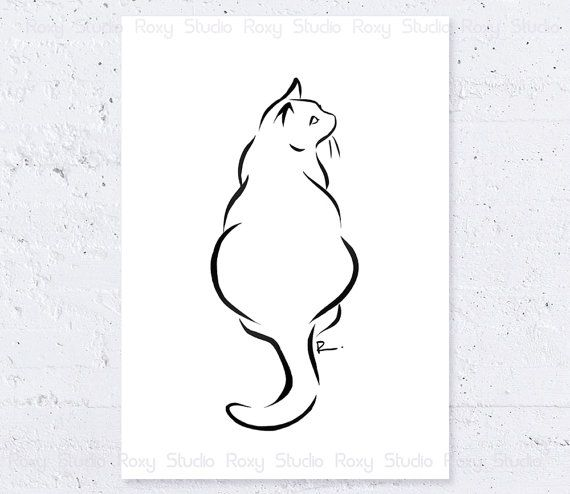 Black Line Drawing Tattoo : Cat art print siting minimalist line drawing by