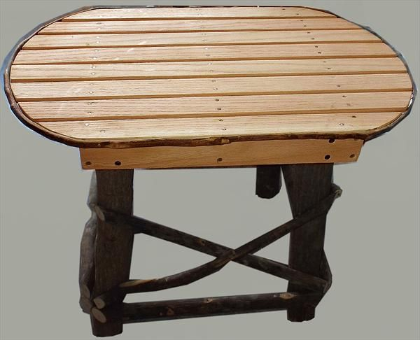 Amish Furniture Ohio Hickory End Table With Oak Or Hickory Slat Top