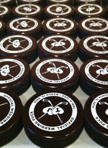 Hockey Themed Wedding Ideas - Hockey Puck Favors sports weddings, sport themed wedding ideas #wedding