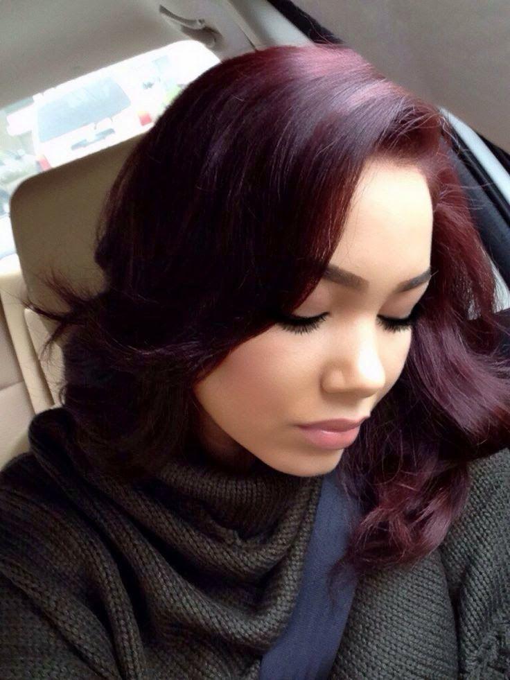 Golden and Burgundy Tinge on Black Hair