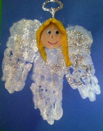 Glitter handafdruk engel. Gezicht kan ook met een foto gemaakt worden