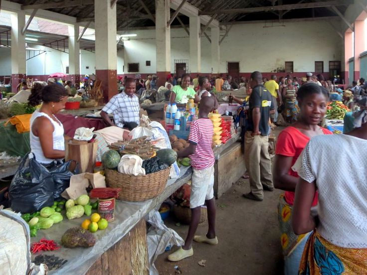 Buyers and sellers meet in the Mercado Municipal in Sao Tome, São Tomé and Príncipe.